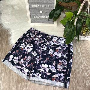 Gloria Vanderbilt Blue Floral Cotton Shorts Size 6
